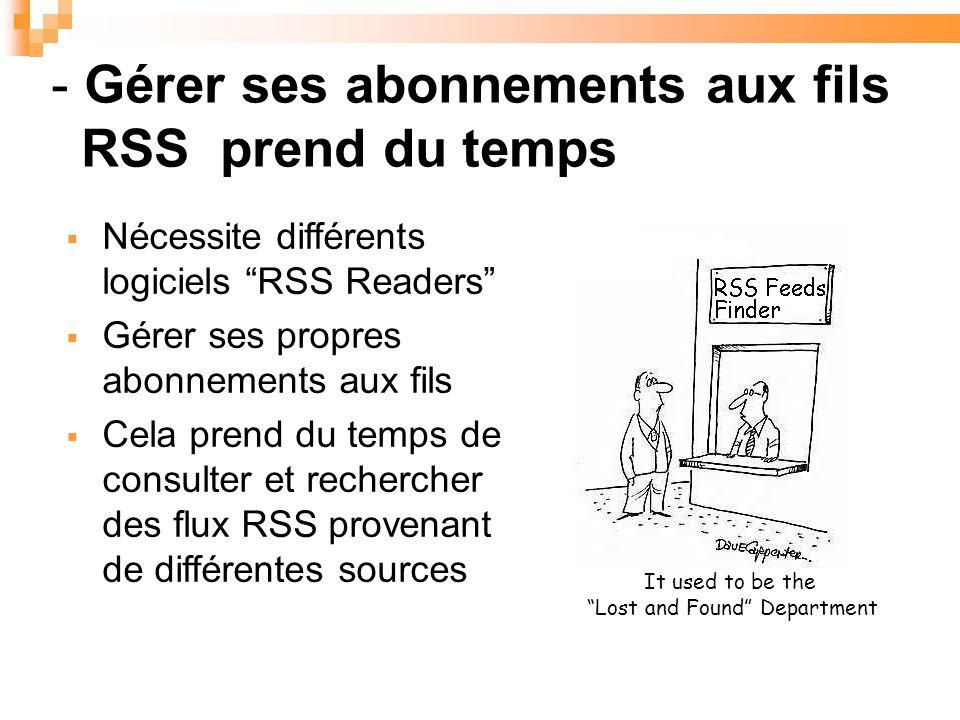 It used to be the Lost and Found Department Nécessite différents logiciels RSS Readers Gérer ses propres abonnements aux fils Cela prend du temps de consulter et rechercher des flux RSS provenant de différentes sources - Gérer ses abonnements aux fils RSS prend du temps