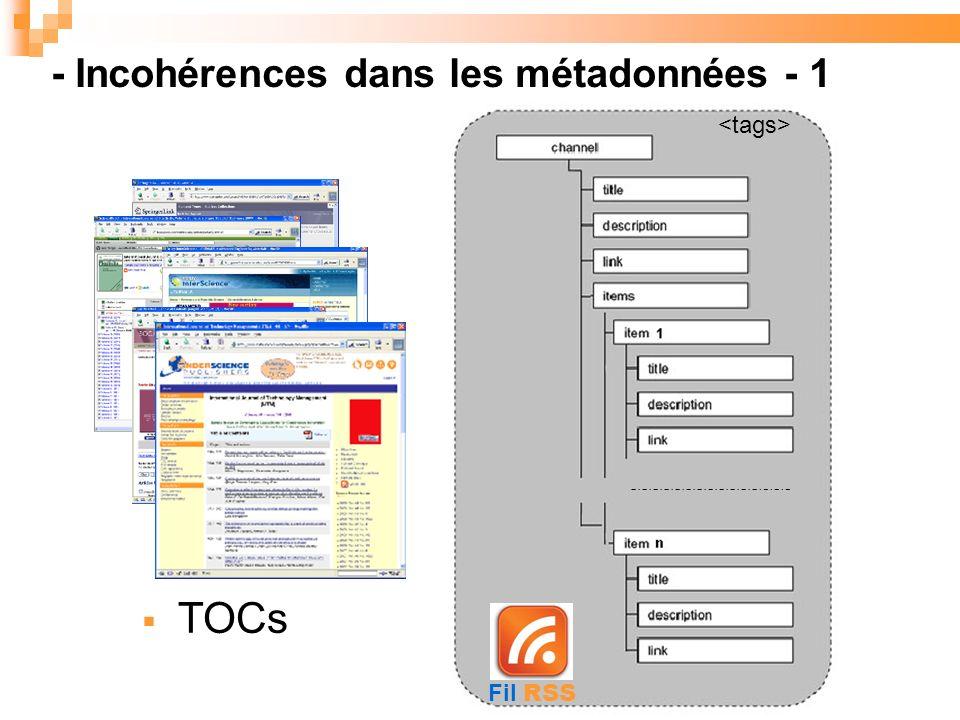 - Incohérences dans les métadonnées - 1 TOCs Fil RSS