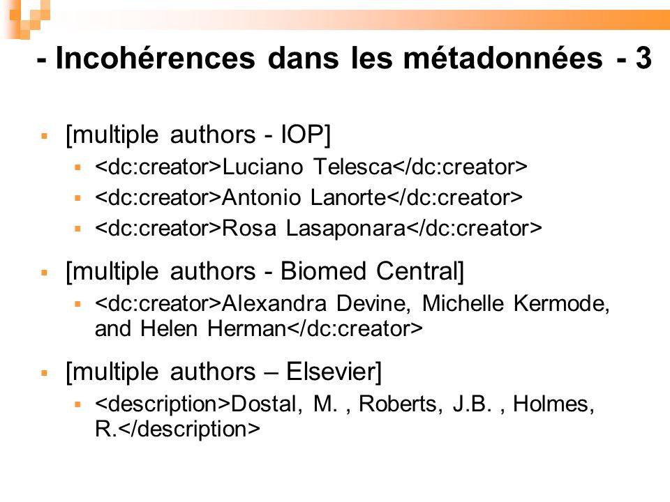 [multiple authors - IOP] Luciano Telesca Antonio Lanorte Rosa Lasaponara [multiple authors - Biomed Central] Alexandra Devine, Michelle Kermode, and Helen Herman [multiple authors – Elsevier] Dostal, M., Roberts, J.B., Holmes, R.
