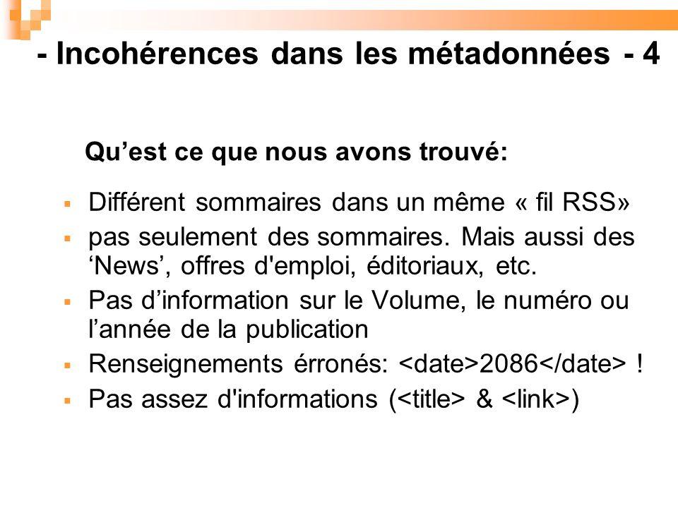 Différent sommaires dans un même « fil RSS» pas seulement des sommaires.