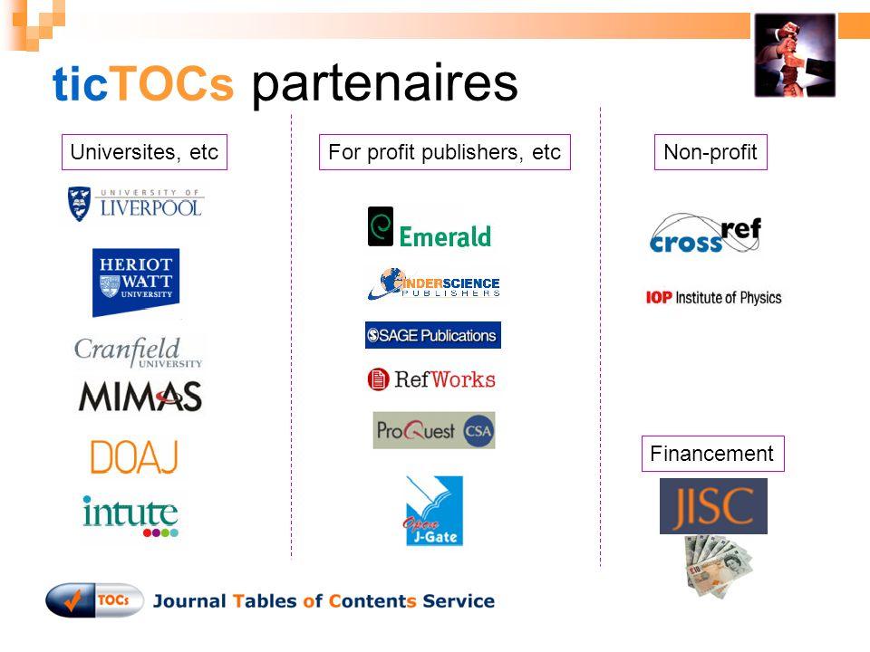 ticTOCs partenaires Non-profitUniversites, etcFor profit publishers, etc Financement