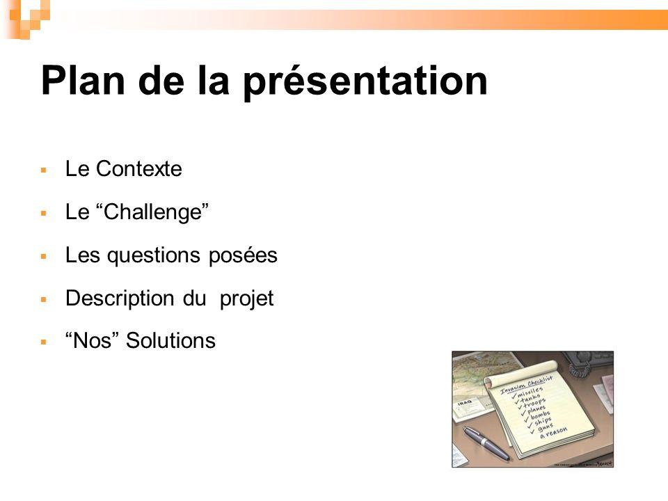 Plan de la présentation Le Contexte Le Challenge Les questions posées Description du projet Nos Solutions