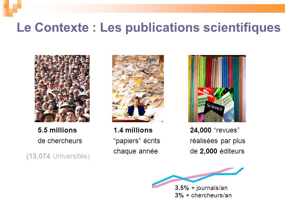 Le Contexte : Les publications scientifiques 5.5 millions de chercheurs 1.4 millions papiers écrits chaque année 24,000 revues réalisées par plus de 2,000 éditeurs (13,074 Universités) 3.5% + journals/an 3% + chercheurs/an