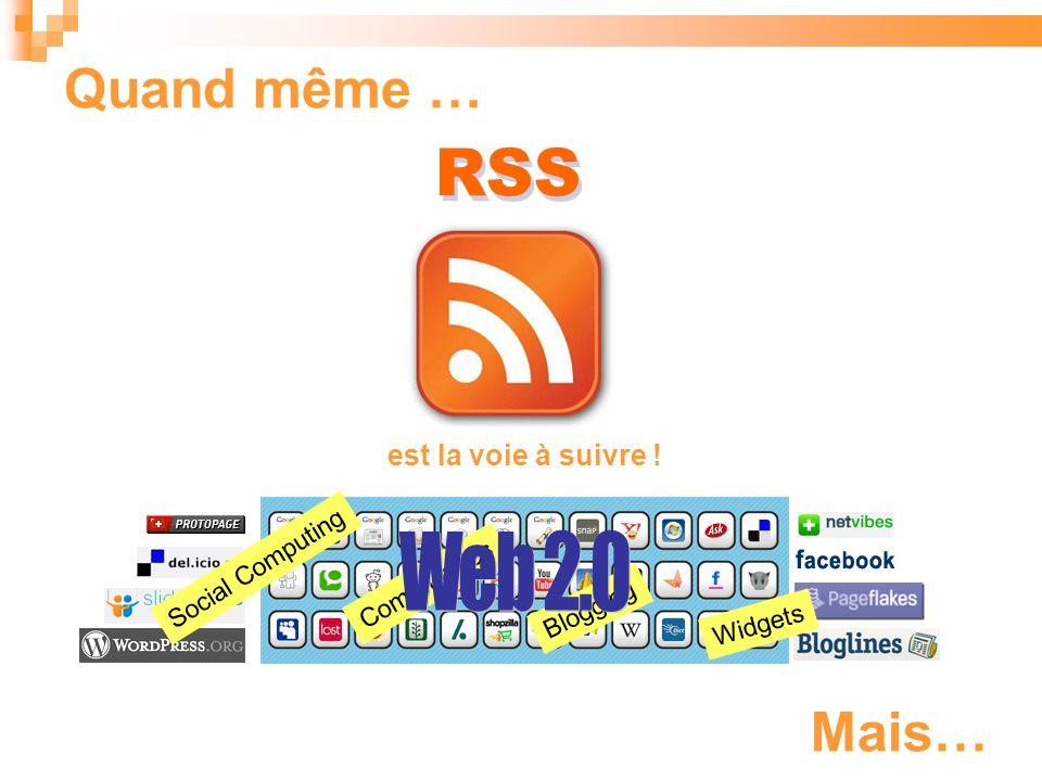Blogging Quand même … RSS est la voie à suivre ! Social Computing Communities Widgets Mais…