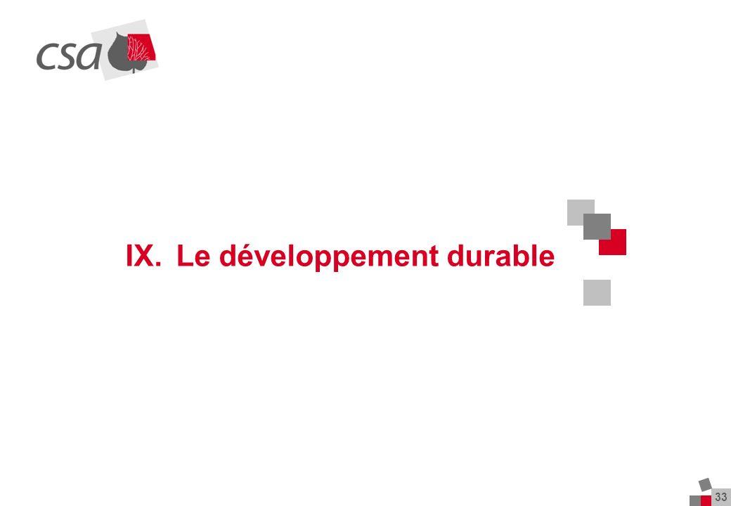 33 IX. Le développement durable