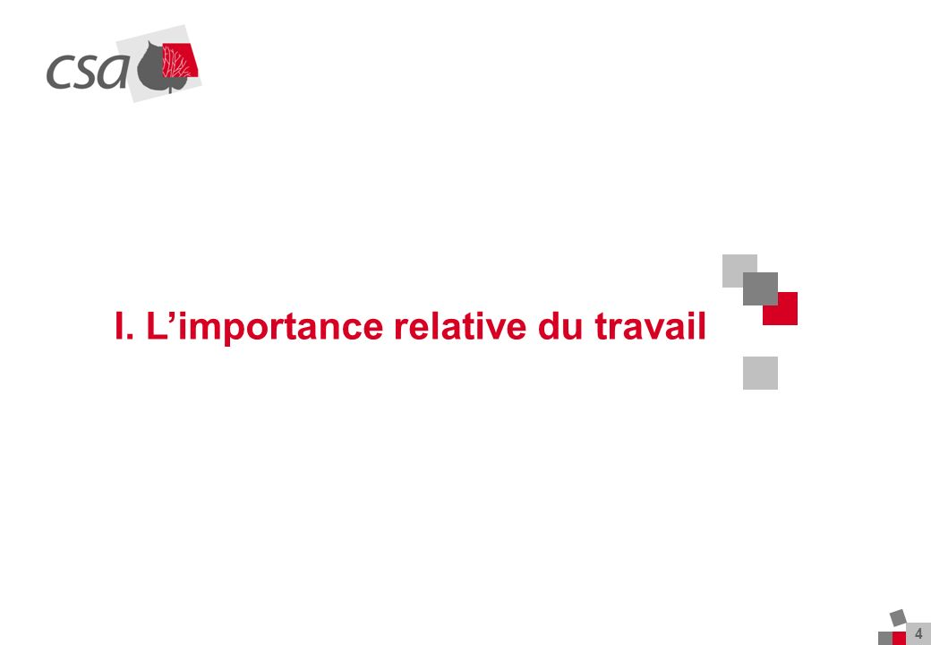 4 I. Limportance relative du travail