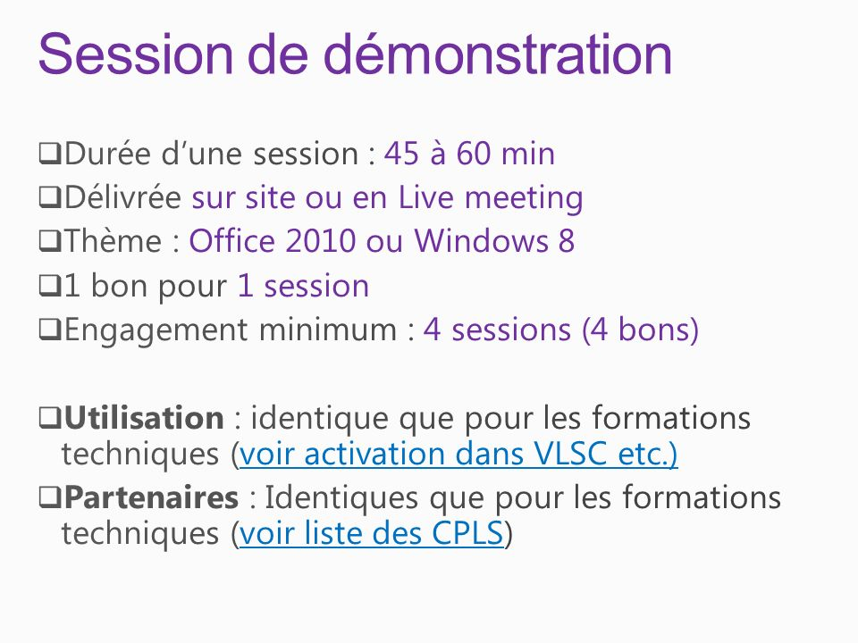 Session de démonstration