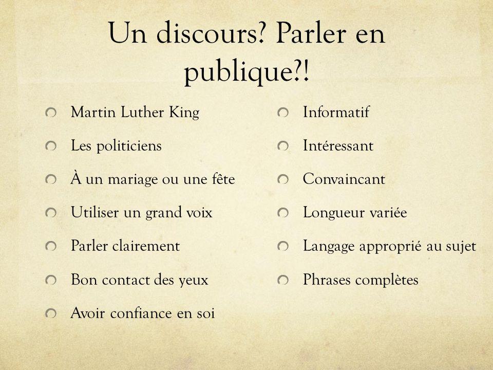 Un discours? Parler en publique?! Martin Luther King Les politiciens À un mariage ou une fête Utiliser un grand voix Parler clairement Bon contact des