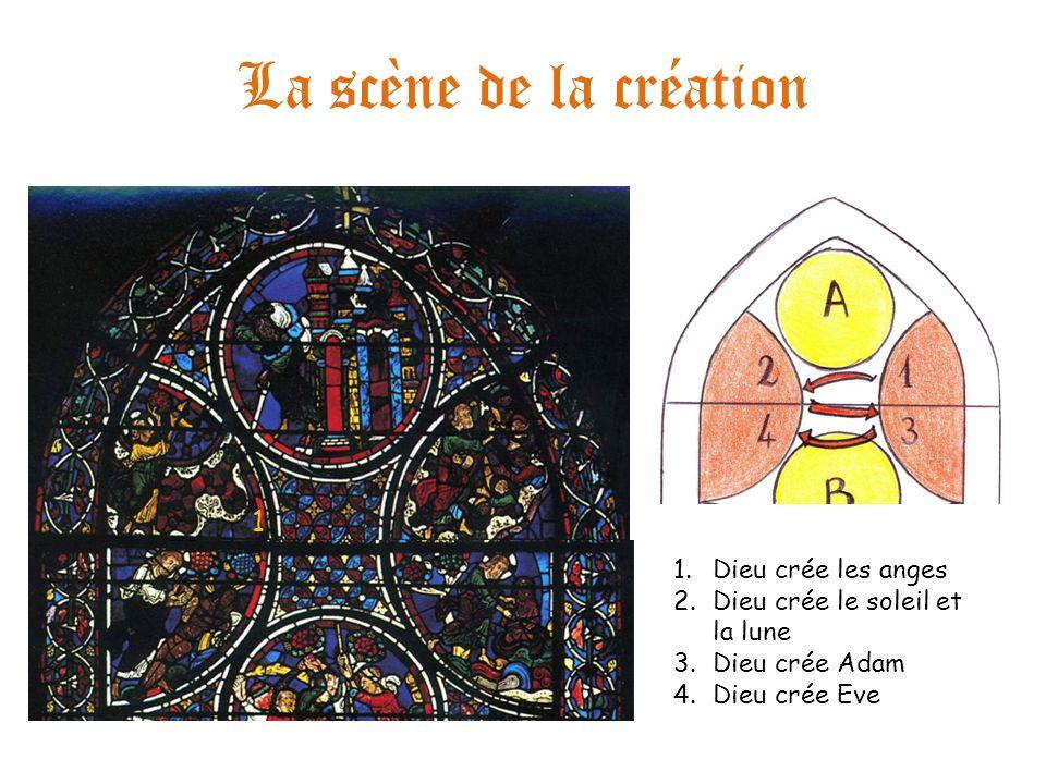 La scène de la création 1.Dieu crée les anges 2.Dieu crée le soleil et la lune 3.Dieu crée Adam 4.Dieu crée Eve 1