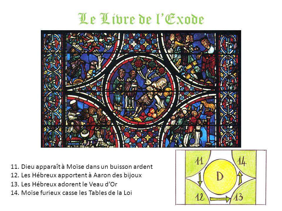 Le Livre de lExode 11. Dieu apparaît à Moïse dans un buisson ardent 12. Les Hébreux apportent à Aaron des bijoux 13. Les Hébreux adorent le Veau dOr 1