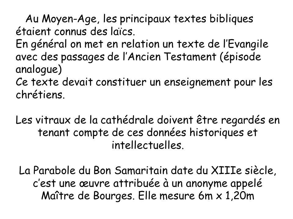 Au Moyen-Age, les principaux textes bibliques étaient connus des laïcs. En général on met en relation un texte de lEvangile avec des passages de lAnci