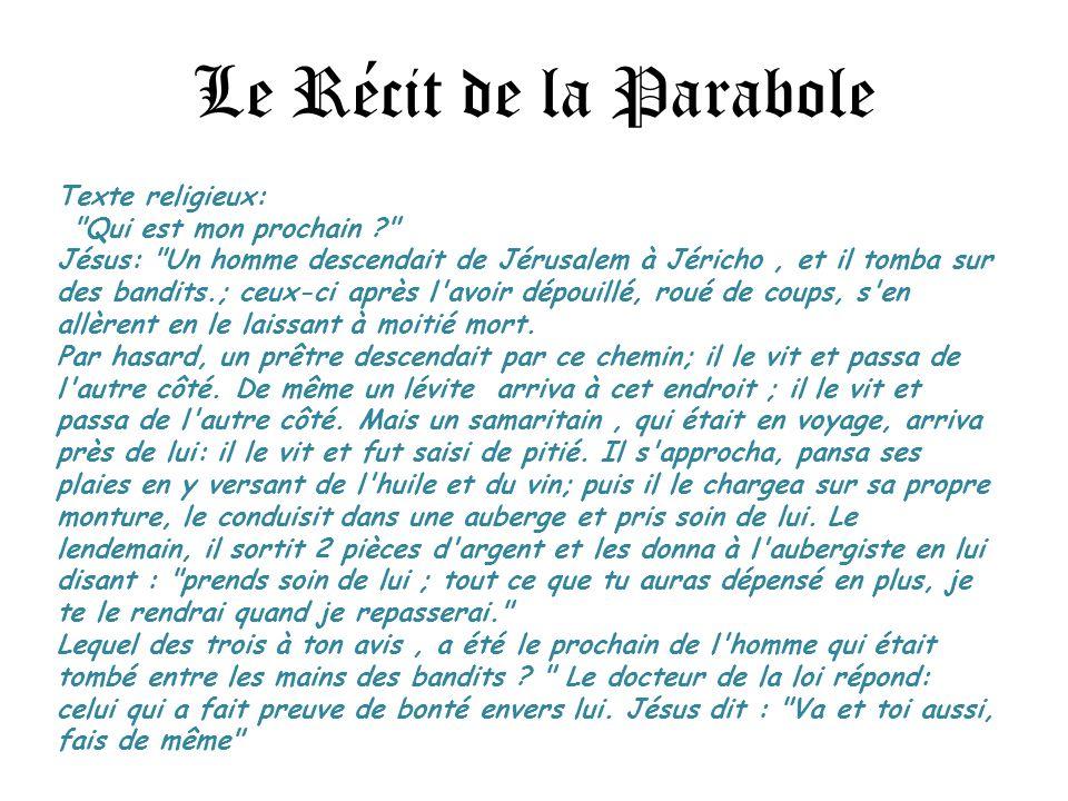 Le Récit de la Parabole Texte religieux: Qui est mon prochain ? Jésus: Un homme descendait de Jérusalem à Jéricho, et il tomba sur des bandits.; ceux-ci après l avoir dépouillé, roué de coups, s en allèrent en le laissant à moitié mort.