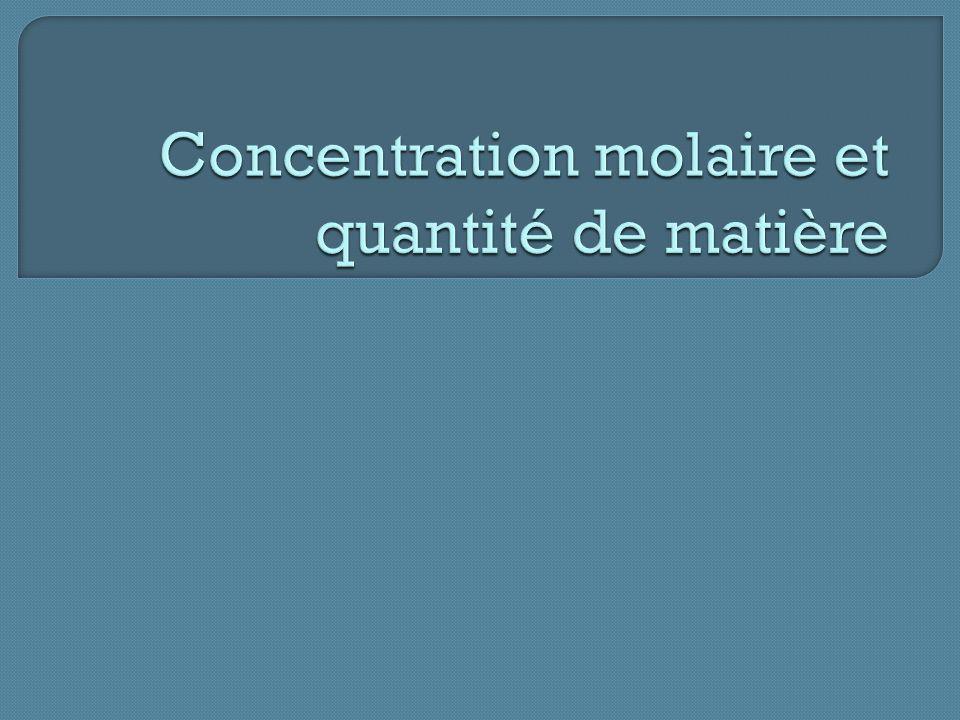 I – La mole et la concentration molaire 1- La mole : Act.1 p.160