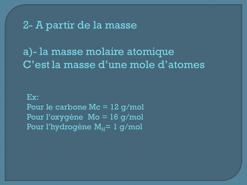 2- A partir de la masse a)- la masse molaire atomique Cest la masse dune mole datomes Ex: Pour le carbone Mc = 12 g/mol Pour loxygène Mo = 16 g/mol Pour lhydrogène M H = 1 g/mol