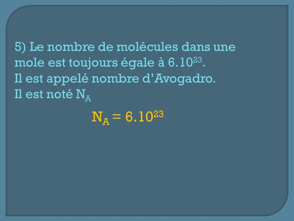 5) Le nombre de molécules dans une mole est toujours égale à 6.10 23. Il est appelé nombre dAvogadro. Il est noté N A N A = 6.10 23