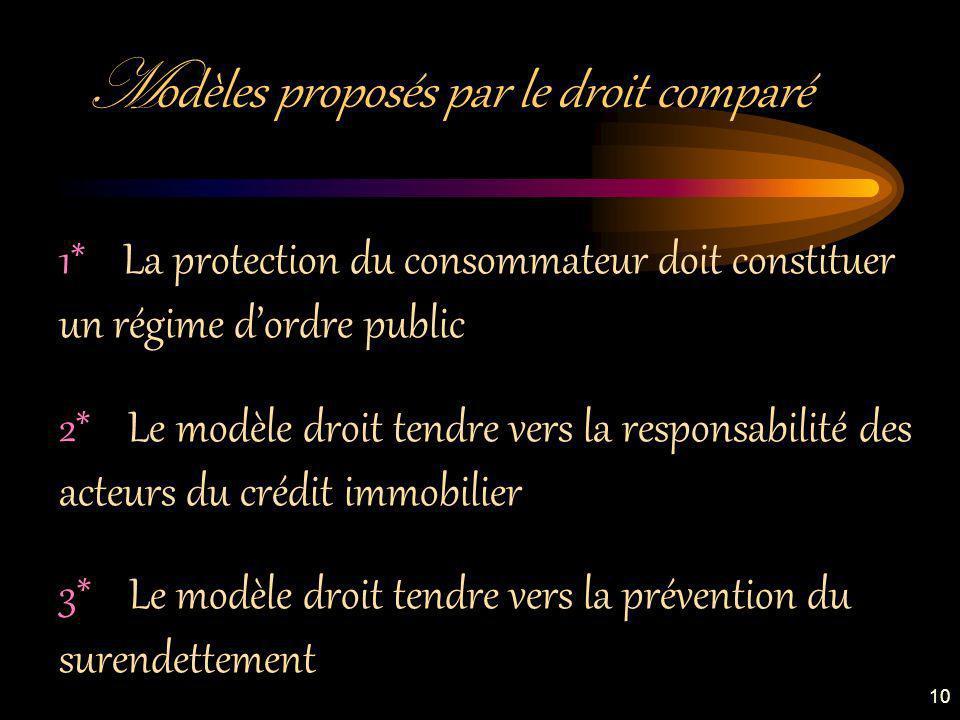 M odèles proposés par le droit comparé 1* La protection du consommateur doit constituer un régime dordre public 2* Le modèle droit tendre vers la responsabilité des acteurs du crédit immobilier 3* Le modèle droit tendre vers la prévention du surendettement 10