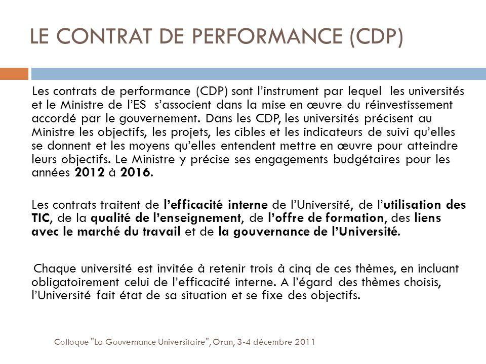 LE CONTRAT DE PERFORMANCE (CDP) Colloque La Gouvernance Universitaire , Oran, 3-4 décembre 2011 Les contrats de performance (CDP) sont linstrument par lequel les universités et le Ministre de lES sassocient dans la mise en œuvre du réinvestissement accordé par le gouvernement.