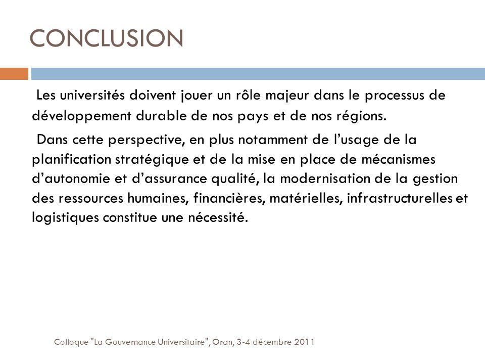 CONCLUSION Colloque La Gouvernance Universitaire , Oran, 3-4 décembre 2011 Les universités doivent jouer un rôle majeur dans le processus de développement durable de nos pays et de nos régions.