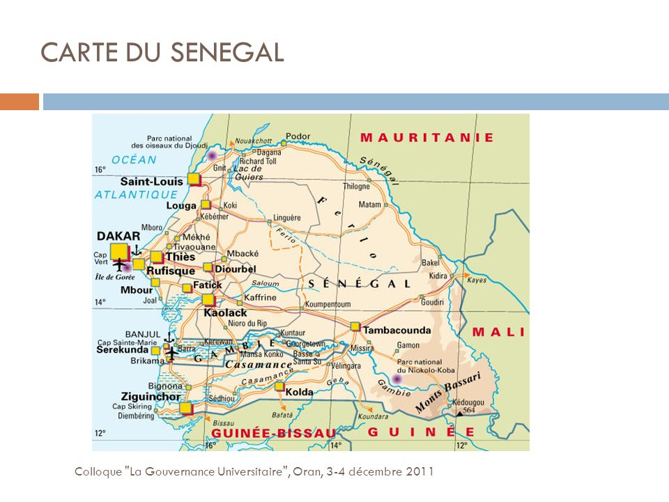 CARTE DU SENEGAL Colloque