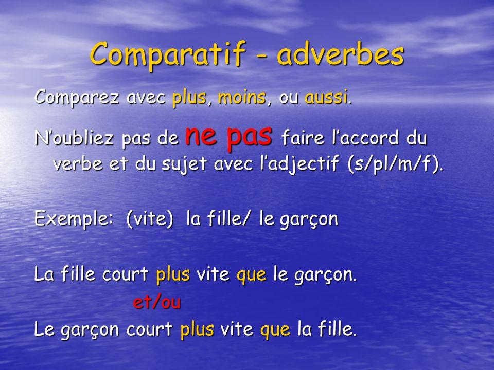 Comparatif - adverbes Comparez avec plus, moins, ou aussi. Noubliez pas de ne pas faire laccord du verbe et du sujet avec ladjectif (s/pl/m/f). Exempl