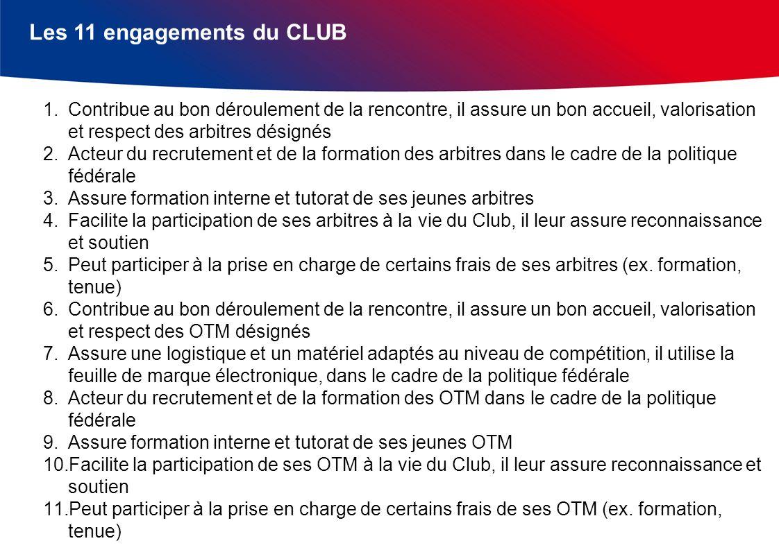 Les 11 engagements du CLUB 1.Contribue au bon déroulement de la rencontre, il assure un bon accueil, valorisation et respect des arbitres désignés 2.A