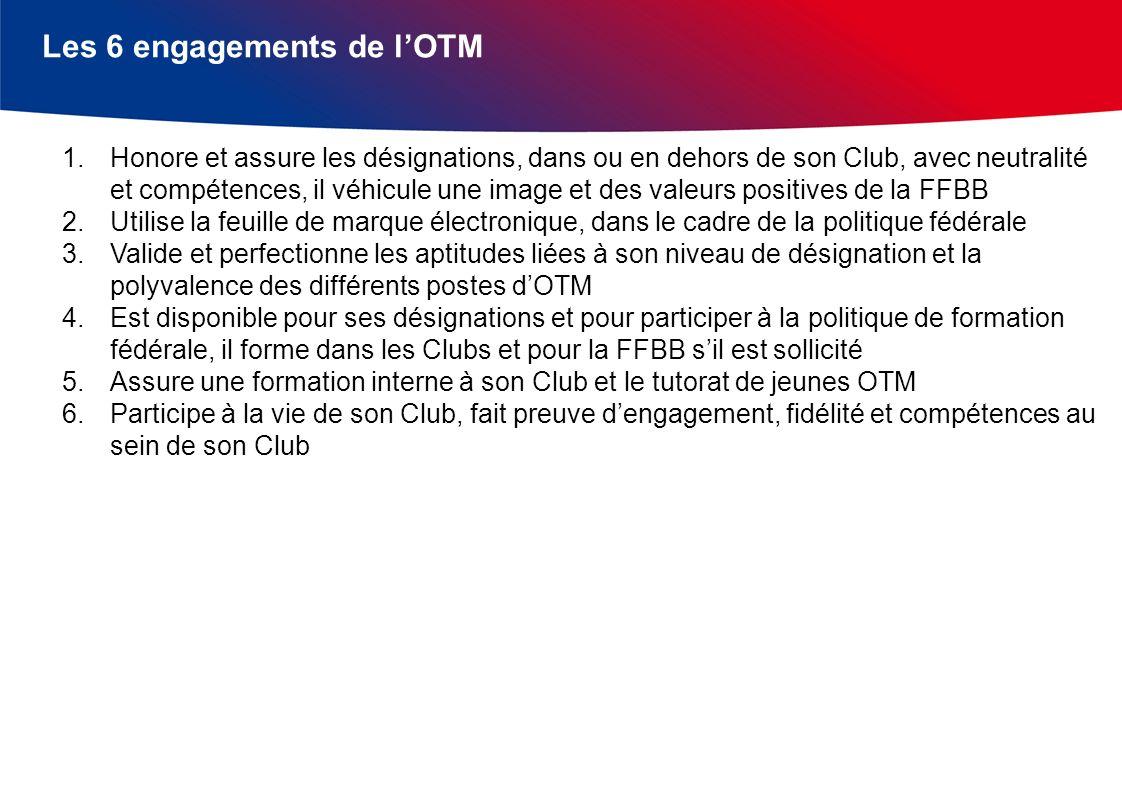 Les 6 engagements de lOTM 1.Honore et assure les désignations, dans ou en dehors de son Club, avec neutralité et compétences, il véhicule une image et