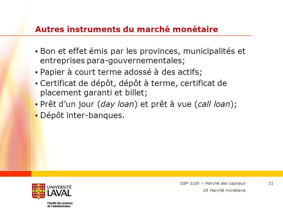 www.ulaval.ca 11 Autres instruments du marché monétaire Bon et effet émis par les provinces, municipalités et entreprises para-gouvernementales; Papie