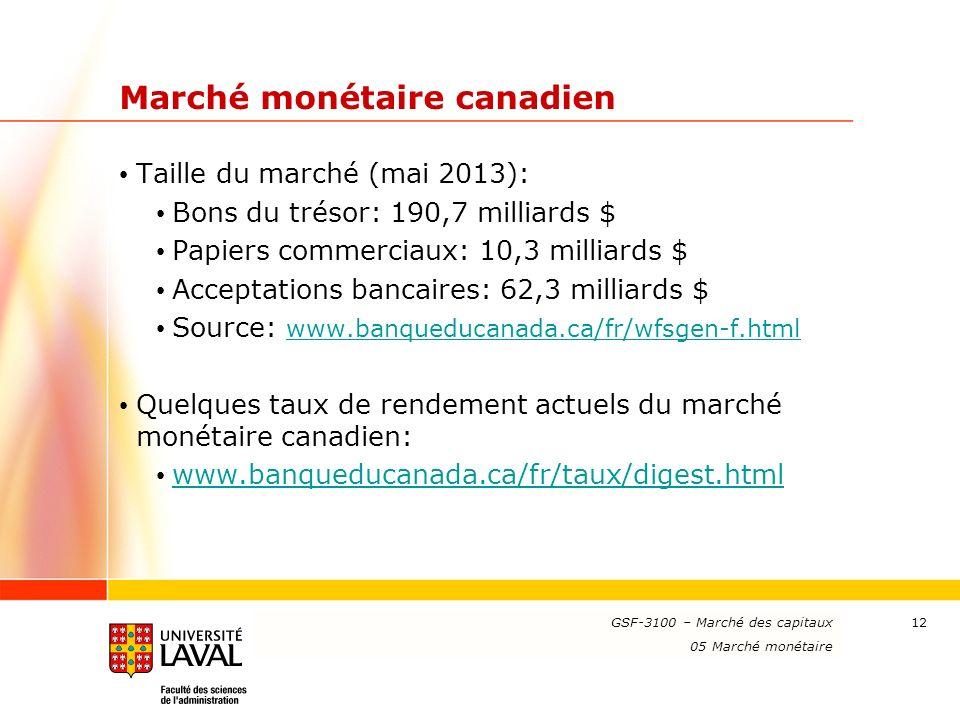 www.ulaval.ca 12 Marché monétaire canadien Taille du marché (mai 2013): Bons du trésor: 190,7 milliards $ Papiers commerciaux: 10,3 milliards $ Accept