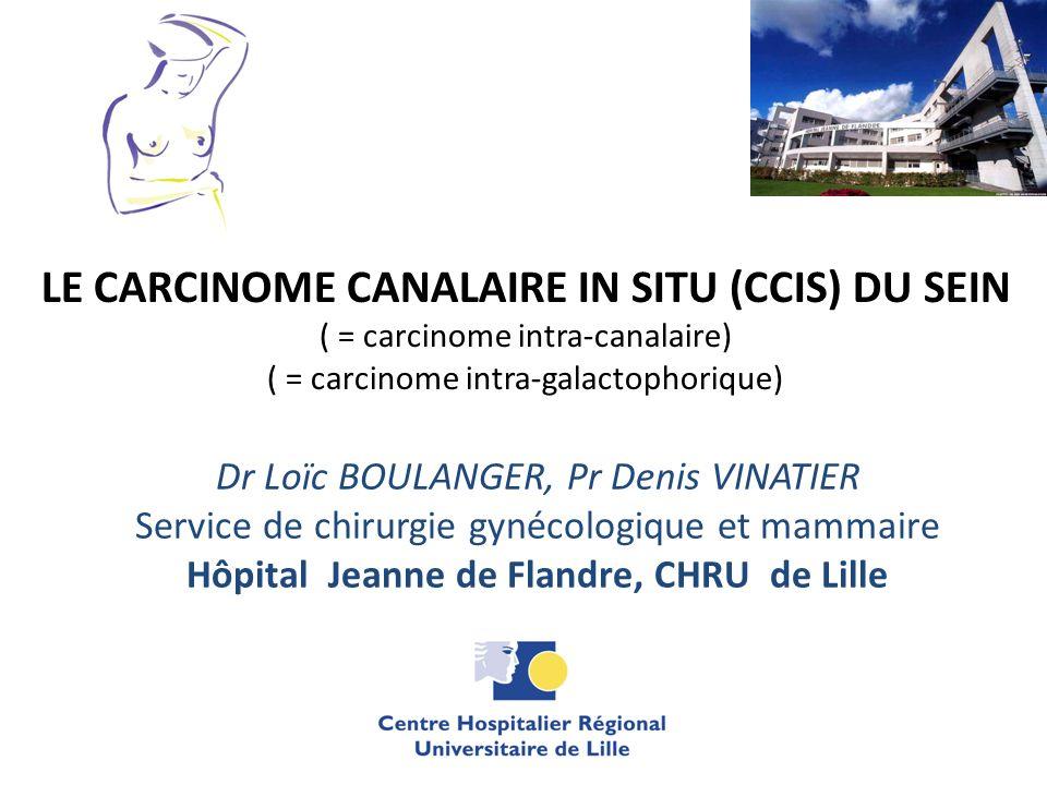 LE CARCINOME CANALAIRE IN SITU (CCIS) DU SEIN ( = carcinome intra-canalaire) ( = carcinome intra-galactophorique) Dr Loïc BOULANGER, Pr Denis VINATIER