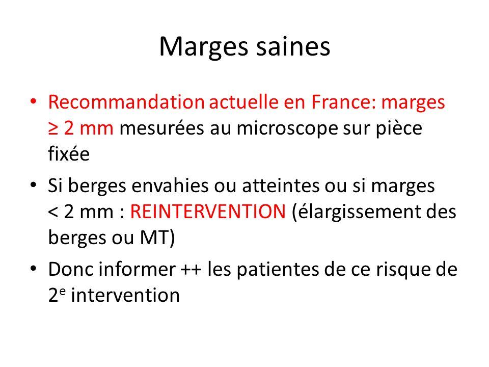 Marges saines Recommandation actuelle en France: marges 2 mm mesurées au microscope sur pièce fixée Si berges envahies ou atteintes ou si marges < 2 m