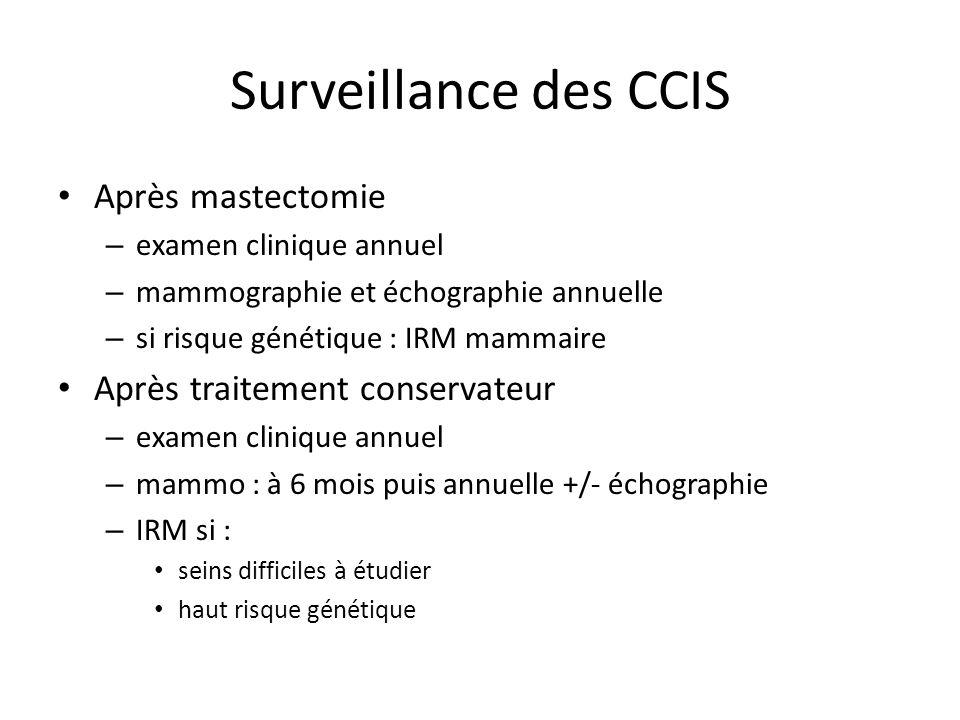 Surveillance des CCIS Après mastectomie – examen clinique annuel – mammographie et échographie annuelle – si risque génétique : IRM mammaire Après tra