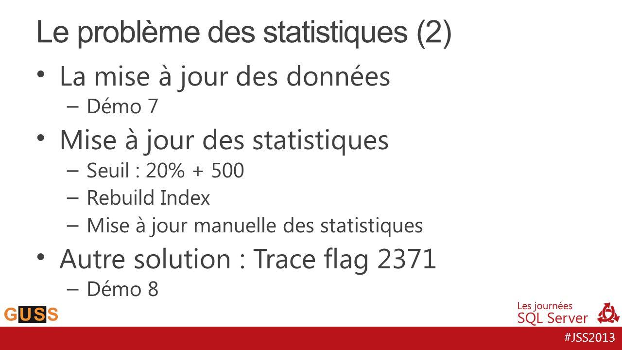 #JSS2013 La mise à jour des données – Démo 7 Mise à jour des statistiques – Seuil : 20% + 500 – Rebuild Index – Mise à jour manuelle des statistiques Autre solution : Trace flag 2371 – Démo 8 Le problème des statistiques (2)