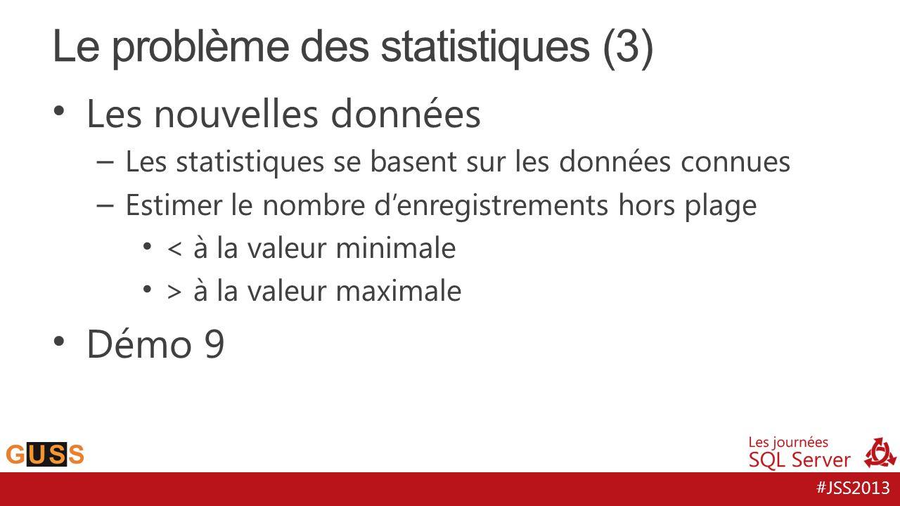 #JSS2013 Les nouvelles données – Les statistiques se basent sur les données connues – Estimer le nombre denregistrements hors plage < à la valeur minimale > à la valeur maximale Démo 9 Le problème des statistiques (3)