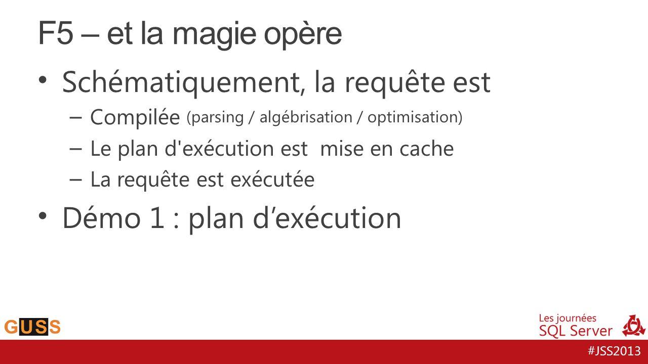 #JSS2013 Schématiquement, la requête est – Compilée (parsing / algébrisation / optimisation) – Le plan d exécution est mise en cache – La requête est exécutée Démo 1 : plan dexécution F5 – et la magie opère