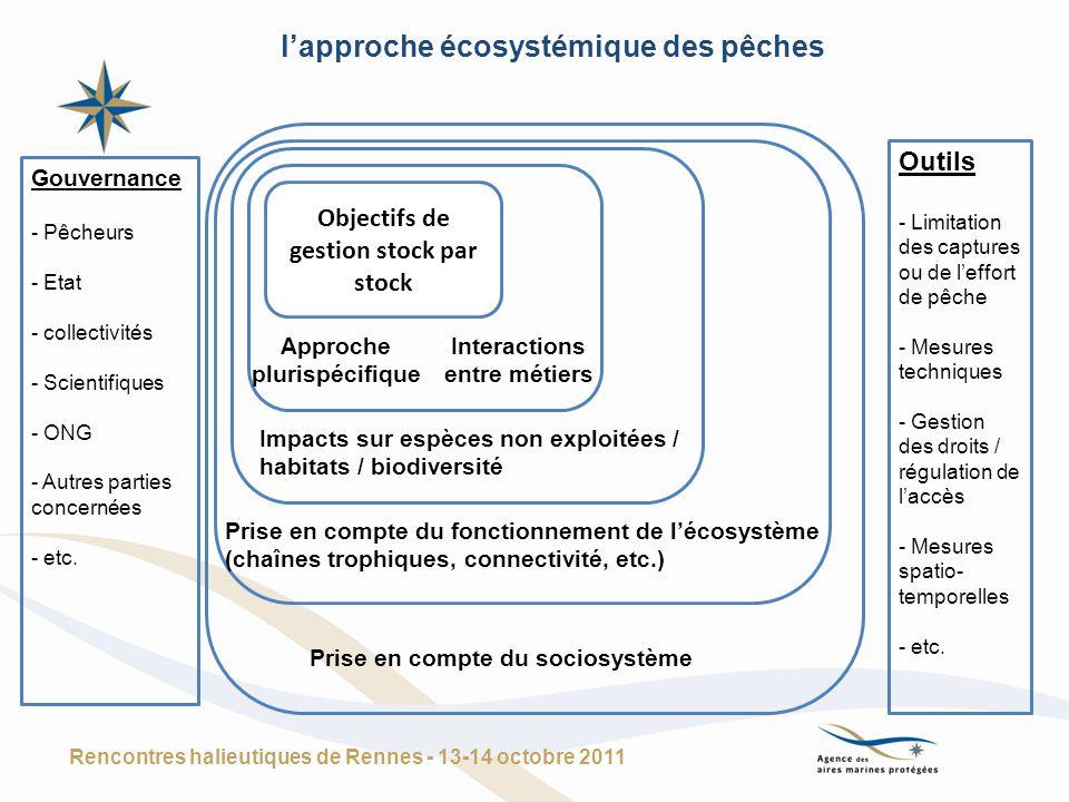 Une vision élargie : lapproche écosystémique (de la gestion des milieux et des usages) Rencontres halieutiques de Rennes - 13-14 octobre 2011 Objectifs de gestion des différentes usages de la mer : - Pêche -Tourisme / plaisance - Extractions - Energie - Transport - … Impacts sur la biodiversité Prise en compte du fonctionnement de lécosystème Prise en compte du sociosystème Outils - Politiques et réglementations sectorielles - Coordination des politiques - Politiques intégrées - Documents de planification (y compris à terre) - etc.