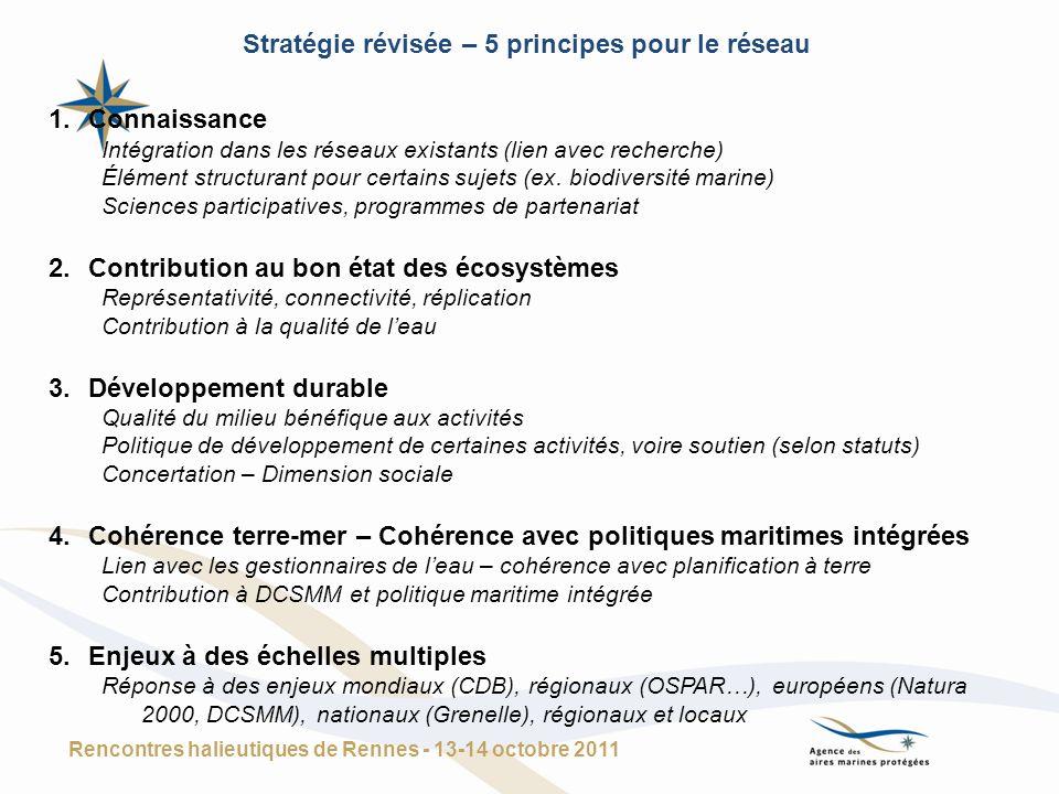 1.Connaissance Intégration dans les réseaux existants (lien avec recherche) Élément structurant pour certains sujets (ex. biodiversité marine) Science