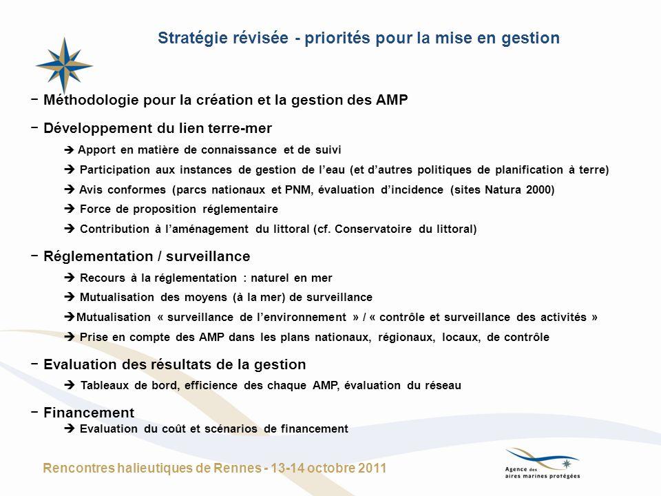 Méthodologie pour la création et la gestion des AMP Développement du lien terre-mer Apport en matière de connaissance et de suivi Participation aux in