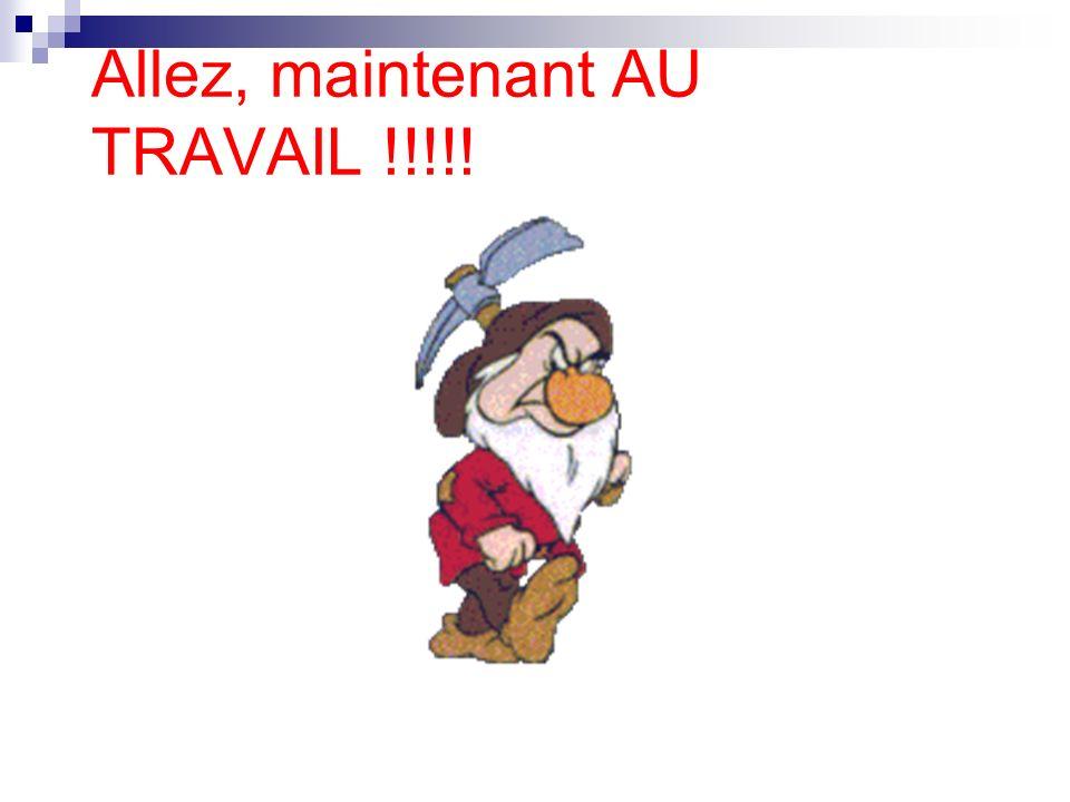 Allez, maintenant AU TRAVAIL !!!!!