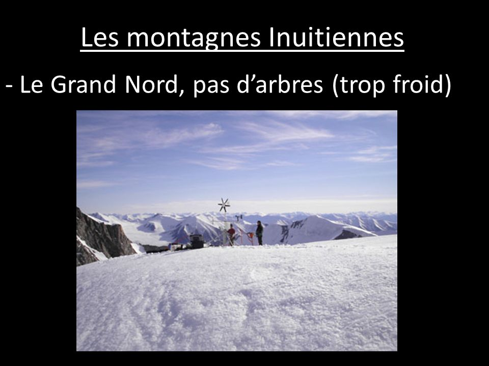 - Le Grand Nord, pas darbres (trop froid)