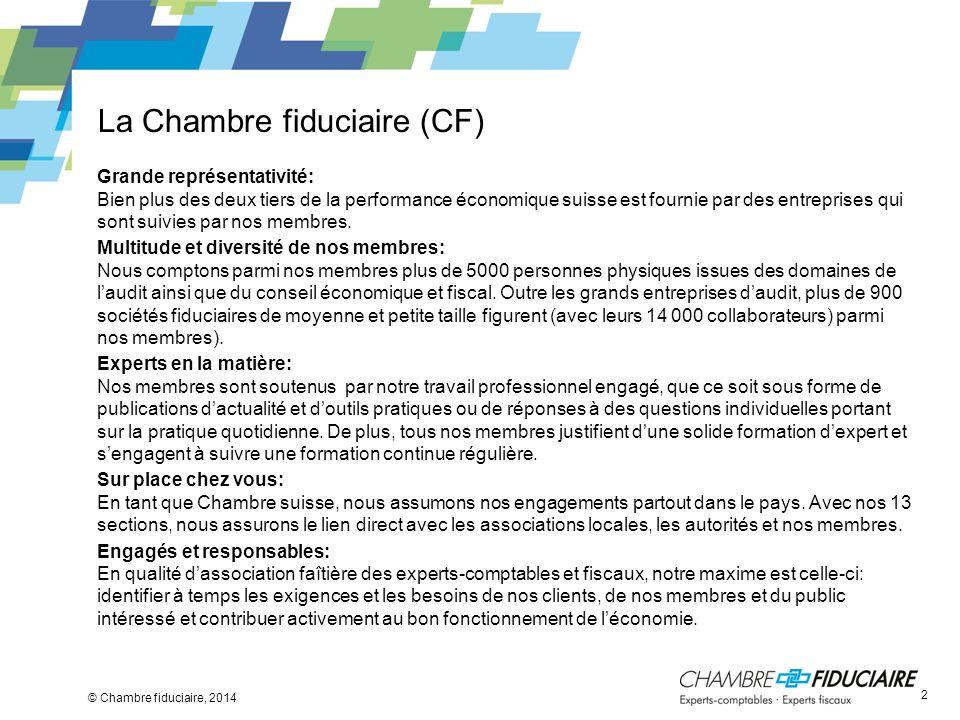 La Chambre fiduciaire (CF) © Chambre fiduciaire, 2014 Grande représentativité: Bien plus des deux tiers de la performance économique suisse est fourni