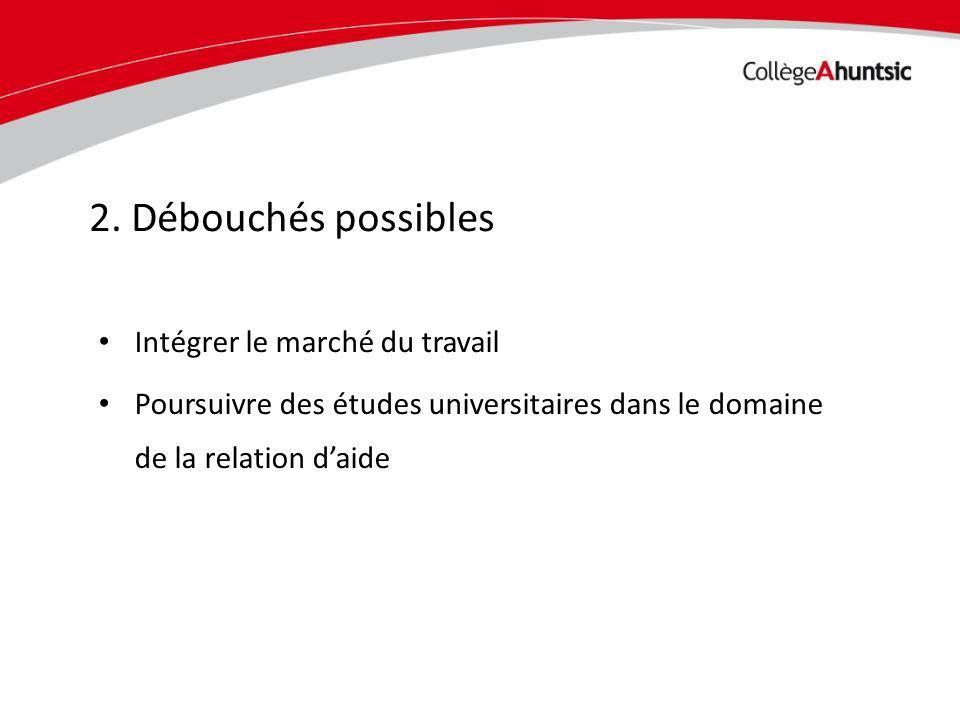Date Intégrer le marché du travail Poursuivre des études universitaires dans le domaine de la relation daide 2.