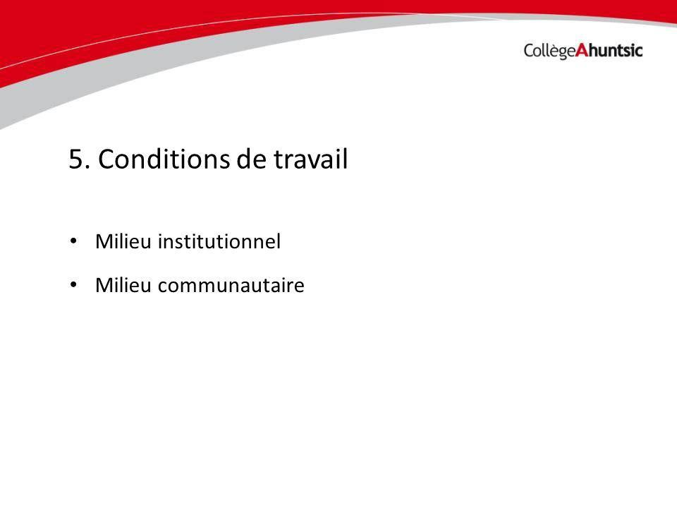 Date Milieu institutionnel Milieu communautaire 5. Conditions de travail
