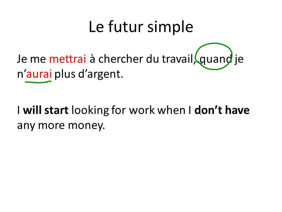 Le futur simple Je me mettrai à chercher du travail, quand je naurai plus dargent. I will start looking for work when I dont have any more money.