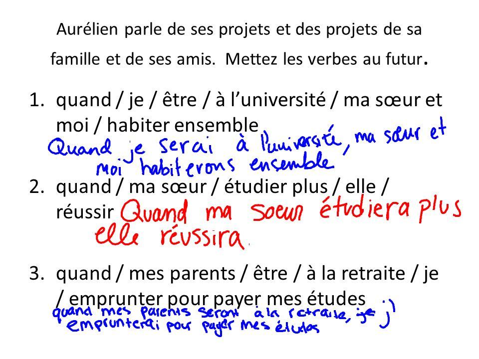 Aurélien parle de ses projets et des projets de sa famille et de ses amis. Mettez les verbes au futur. 1.quand / je / être / à luniversité / ma sœur e