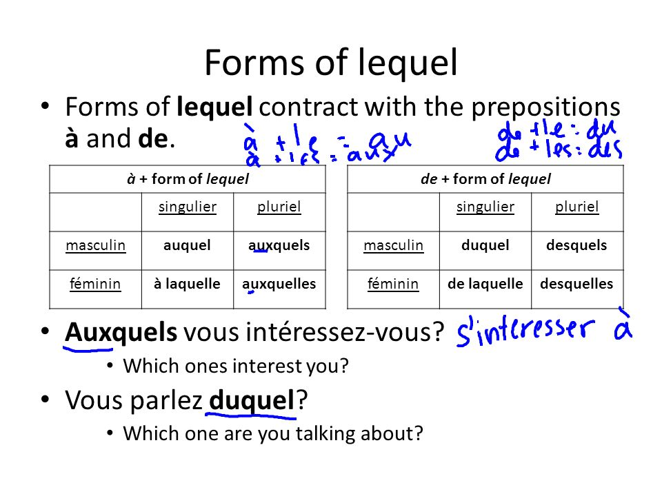 Forms of lequel Forms of lequel contract with the prepositions à and de.