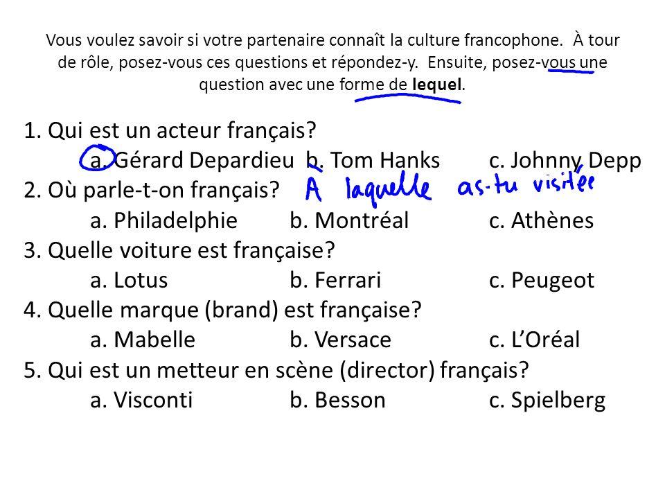 Vous voulez savoir si votre partenaire connaît la culture francophone. À tour de rôle, posez-vous ces questions et répondez-y. Ensuite, posez-vous une