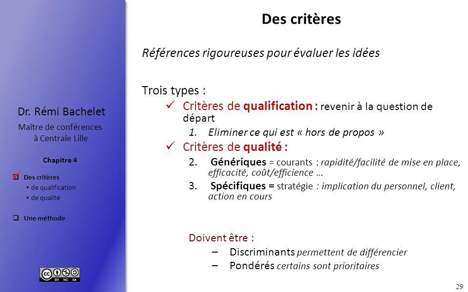 Des critères de qualification de qualité Une méthode Chapitre 4 Dr. Rémi Bachelet Maître de conférences à Centrale Lille 29 Des critères Références ri