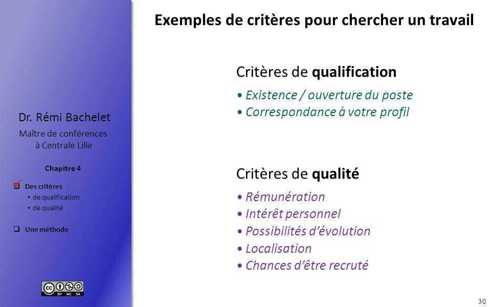 Des critères de qualification de qualité Une méthode Chapitre 4 Dr. Rémi Bachelet Maître de conférences à Centrale Lille 30 Exemples de critères pour