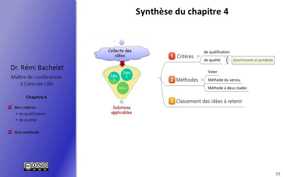 Des critères de qualification de qualité Une méthode Chapitre 4 Dr. Rémi Bachelet Maître de conférences à Centrale Lille 33 Synthèse du chapitre 4..