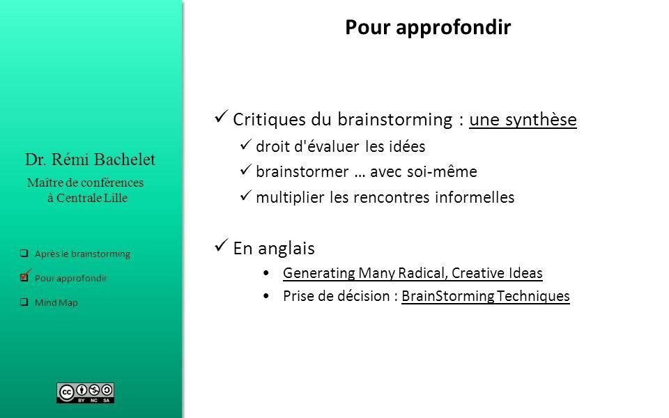Dr. Rémi Bachelet Maître de conférences à Centrale Lille Après le brainstorming Pour approfondir Mind Map Pour approfondir Critiques du brainstorming
